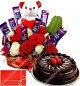 1Kg Chocolate Truffle Cake n Special Teddy Roses Flower Chocolate Bouquet