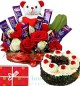1Kg Black Forest Cake n Special Teddy Roses Flower Chocolate Bouquet