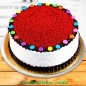 eggless 1kg red velvet gems round shape cake