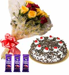 special combo of flower cake and chocolates