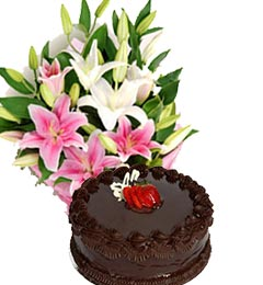 chocolate cake and fresh asiatic lilies