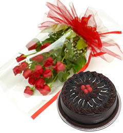 birthday chocolate truffle cake and  red roses hand bouquet