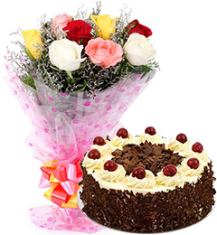 black forest cake and 10 mix roses