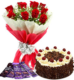 10 red roses bouquet and 5 dairy milk chocolate with black forest cake