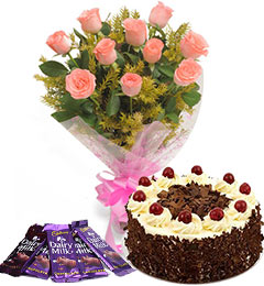 10 pink roses bouquet and 5 dairy milk chocolate with black forest cake