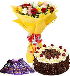 10 mix roses bouquet and 5 dairy milk chocolate with black forest cake