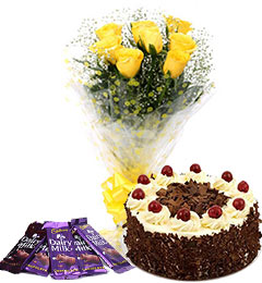 10 yellow roses bouquet and 5 dairy milk chocolate with black forest cake