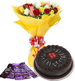 10 mix roses bouquet and 5 dairy milk chocolate with chocolate cake