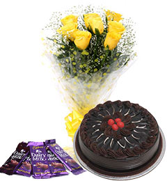 10 yellow roses bouquet and 5 dairy milk chocolate  with chocolate cake