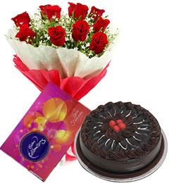 10 red roses bouquet and cadbury celebration  box with chocolate cake