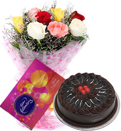 10 mix roses bouquet and cadbury celebration box with chocolate cake