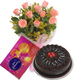 10 pink roses bouquet and cadbury celebration box with chocolate cake