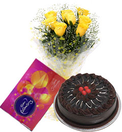 10 yellow roses bouquet and cadbury celebration box with chocolate cake