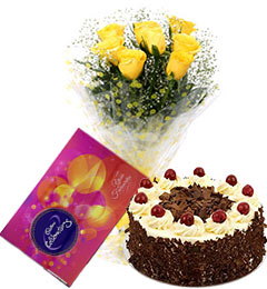 10  Yellow roses bouquet and cadbury celebration box with Black Forest Cake