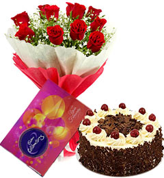 10 red roses bouquet and cadbury celebration box with black forest cake
