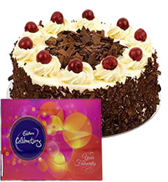 500gms black forest cake and cadbury celebration chocolate
