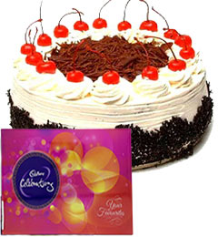 Cadbury Celebration Chocolate with 500gms Eggless Black Forest Cake