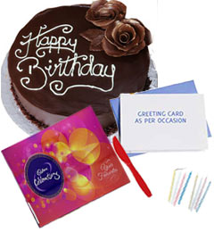 Celebration Chocolate with 500gms Happy Birthday Chocolate Cake n Card