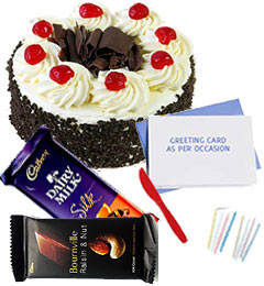 half kg black forest cake 2pcs chocolate n card
