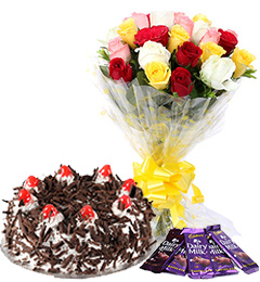 mix roses 500gm black forest cake and dairy milk chocolates