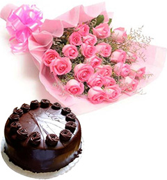 Half Eggless chocolate cake and 15 Pink Roses Bunch