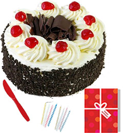 any occasion half kg eggles black forest cake n greeting card