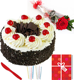 single red roses half kg eggles black forest cake n greeting card