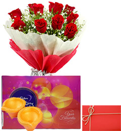 Send Order Diwali Special Flower With Cholect Cadbury Celebrations