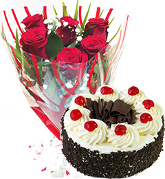 eggless Black Forest cake  with roses bunch starter combo