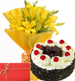 fresh lilies bouquet Eggless Black Forest Cake With Greeting Card