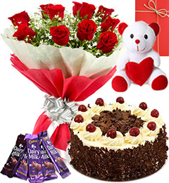 Red Roses Bouquet - Eggless Black Forest Cake - chocolate - teddy with Greeting Card