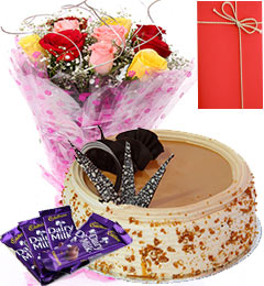 1 Kg Eggless Butterscotch Cake with Roses Bunch - Dairy Milk Chocolate - Greeting Card