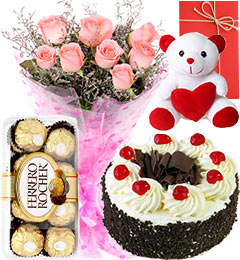 Pink Roses Bouquet - Eggless Black Forest Cake - Ferrero Rocher - teddy - Greeting Card
