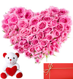 Send buy order heart shape arrangement of 50 pink roses with small heart shape arrangement of 50 pink roses with small cute teddy and greeting card m4hsunfo