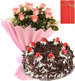 1 Kg Eggless Black Forest Cake Pink Roses Bunch Greeting Card