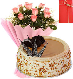 1 Kg Eggless Butterscotch Cake Pink Roses Bunch Greeting Card