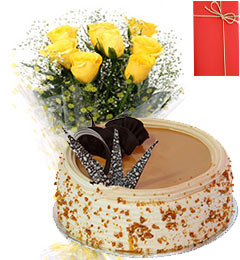 1 Kg Eggless Butterscotch Cake Yellow Roses Bunch Greeting Card
