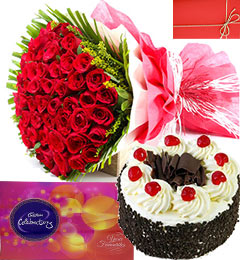 black forest cake 50 red roses and cadbury celebrations