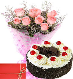 half kg eggless Black Forest Cake Ten Pink Roses Bunch