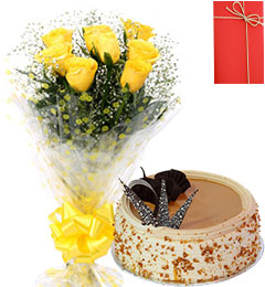Yellow Roses Bunch 500gms Butterscotch Cake with Greeting Card