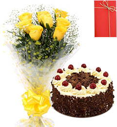 Yellow Roses Bunch 500gms Black Forest Cake with Greeting Card