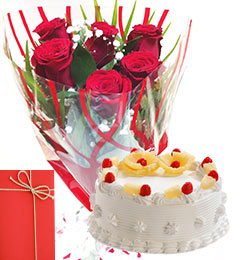Roses Bunch 500gms Pineapple Cake with Greeting Card
