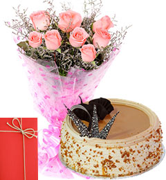 Pink Roses Bunch 500kg Butterscotch Cake with Greeting Card