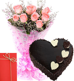 Pink Roses Bunch 1 Kg Heart Shaped Cake Chocolate Truffle Cake with Greeting Card