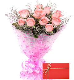 Designer Pink Roses Bunch with Greeting Card