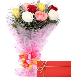 Designer Mix Roses Bunch with Greeting Card