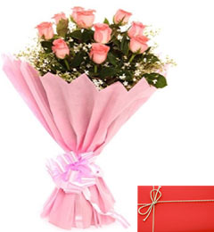 Exclusive Pink Roses Bunch and Greeting Card