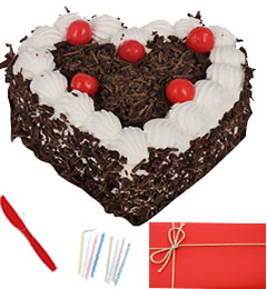 Any Occasion 1 Kg Eggless Heart Black Forest Cake n Greeting Card