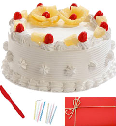 Any Occasion 1 Kg Eggless Pineapple Cake n Greeting Card
