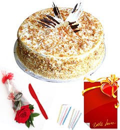 Red Rose 1 Kg Eggless Butterscotch Cake n Greeting Card